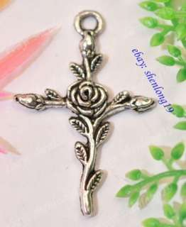35pcs Tibetan Silver Rose Cross Charms Pendants SH45