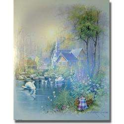 Andres Orpinas Church Swans II Canvas Art
