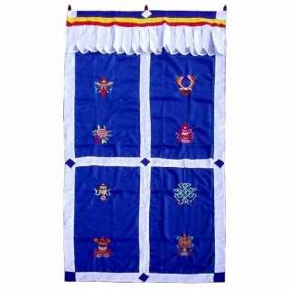 Tibetan 8 lucky symbols blue curtain door hanging