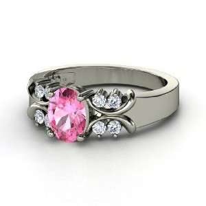 Gabrielle Ring, Oval Pink Sapphire 14K White Gold Ring