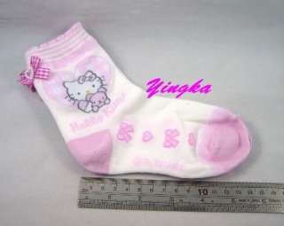 Sanrio Hello Kitty Girls Socks Ribbon LIGHT PINK 20cm / US 2