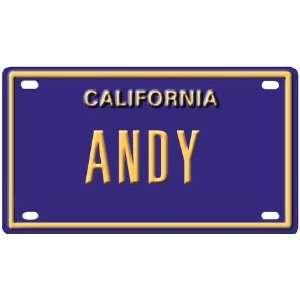 Andy Mini Personalized California License Plate