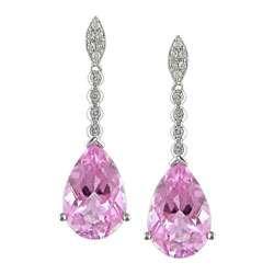14k Gold Pink Topaz 1/6ct TDW Diamond Earrings