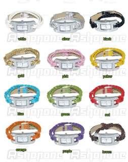 Lady Girl Quartz Bracelet Knitted Leather Slim Strap Band Wrist Watch