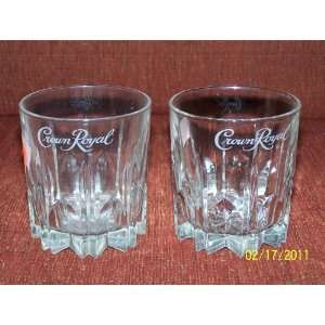 Crown Royal UNIQUE Tumbler/Bar Glasses BOTTOMS ARE STAR POINTS/SET OF