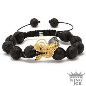 Mens Gold Plated Dragon Lava Bead Bracelet Jewelry