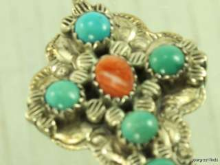 PREVIOUSLY OWNED SOUTHWEST STERLING SILVER TURQUOISE SPINY OYSTER