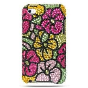 iPod Touch 4 Diamond Hawaii Flower Green Hot Pink Case Premium with KL