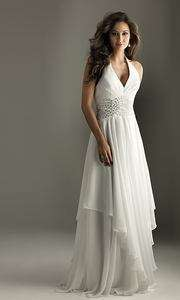 Halter V neck Beading Bridal Wedding Gown Prom Evening Dress