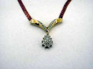 14K Rose Yellow Gold and Diamond Cluster Necklace 7306