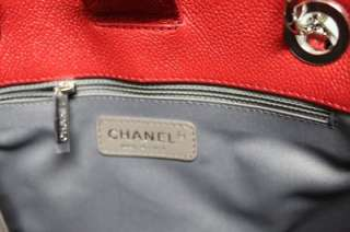 Chanel Small Petite Shopper Red PST Caviar Leather Classic Tote Bag