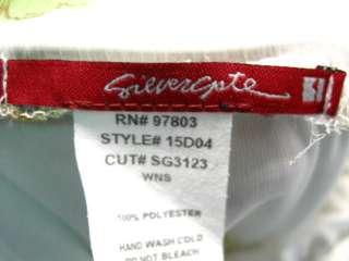 SILVERGATE White Green Long Floral Halter Dress S