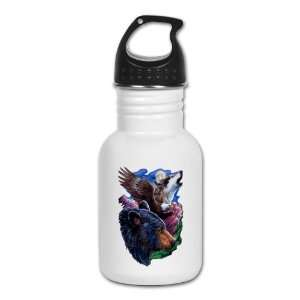 Kids Water Bottle Bear Bald Eagle and Wolf: Everything Else