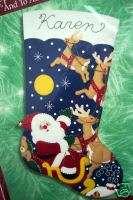Christmas Bucilla Felt Applique Stocking Kit,TO ALL A GOODNIGHT,Santa