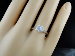 14K WHITE GOLD DIAMOND FLOWER CLUSTER ENGAGEMENT RING 1/3 CT