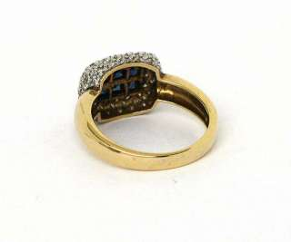 EXQUISITE 18K, DIAMONDS & INVISIBLY SET SAPPHIRES RING