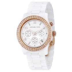 Michael Kors Womens White Ceramic Rose gold Watch