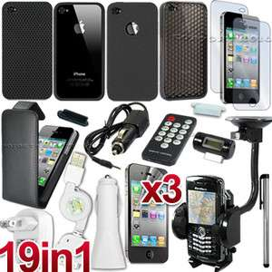 19 ACCESSORY BLACK LEATHER CASE HARD BACK COVER SILICONE SKIN FOR