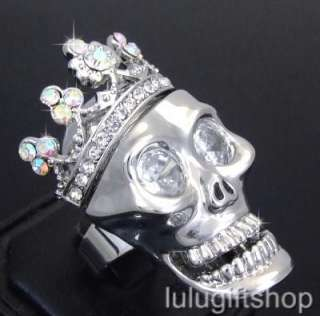 WHITE GOLD PLATED CROWN SKULL RING W SWAROVSKI CRYSTALS