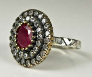 Art Deco Rose Gold/925 Ring 3.41ctw Ruby & White Sapphire 7.6g Size 8