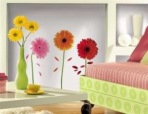 DAISIES wall stickers 8 big flower decals daisy room decor