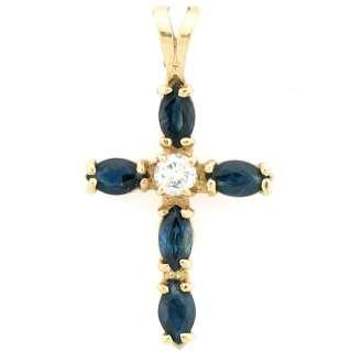 20Ctw Sapphire & Diamond Ladies Cross Pendant 14k Yellow Gold
