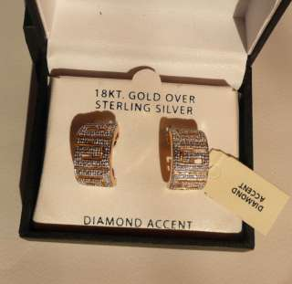 Diamond Accent 18KT Gold Over Sterling Earrings NIB