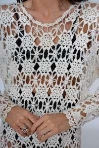 SCALLOP Sheer Cutout Lace Festival Hippie Draped Mini TOP DRESS
