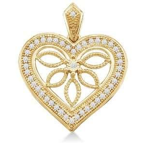 10K Yellow Gold Tree Leaves Heart Micro Pave Set Round Diamond Pendant