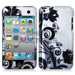 Black Flowers Skin Case Cover iPod Touch 4th 4 Cute