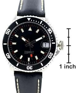 Esprit Mens Storm Black Leather Strap Sport Watch