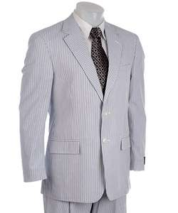 Alexander Julian Mens Navy/ White Seersucker Suit