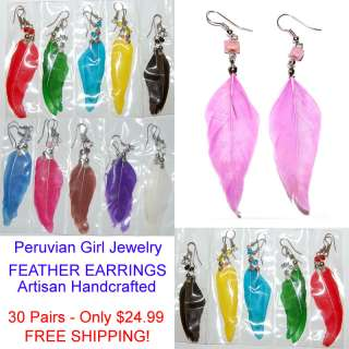 FEATHER EARRINGS HANDMADE COLORFUL WHOLESALE FASHION PERUVIAN JEWELRY