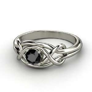 Infinity Knot Ring, Round Black Diamond Sterling Silver Ring Jewelry