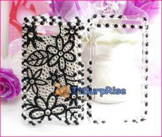 Bling Diamond Silver Black Flowers Hard Case Cover For HTC Aria
