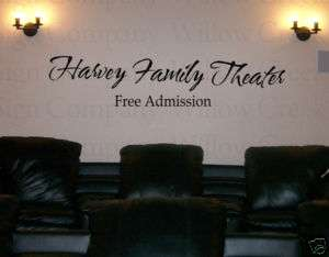 Family Theater Vinyl Wall Lettering Words Decor Art