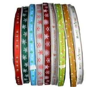 Satin Ribbon 3/810mm  Snow/Happy/Holiday/Merry/Christmas 9*1yard