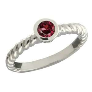 0.37 Ct Round Red Rhodolite Garnet 18k White Gold Ring