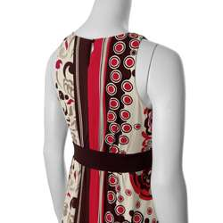 Sangria Womens Retro Print Sleeveless Maxi Dress  Overstock