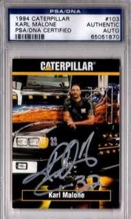 dna karl malone 1994 caterpillar autograph psa dna  in