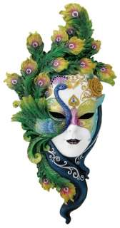 LADY PEACOCK Venetian Carnival Mask Plaque Venice 21.5