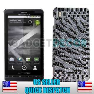 FOR MOTOROLA DROID X X2 MB810 BLACK SILVER ZEBRA DIAMOND HARD BACK