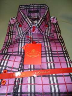 Bright Pink & Black Plaid Tartan Checkered High Collar Dress Shirt