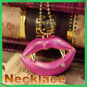 New Vintage Kiss Me Vampire Big Red Lip Long Fashion Necklace Sexy