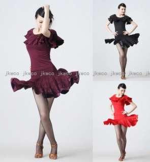 new latin ballroom dance dress top skirt flouncing salsa chacha dance