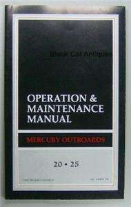 25 HP Outboard Motor Operation & Maintenance Owners Manual NOS