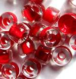RED LINED CRYSTAL CZECH GLASS 9x6mm Pony Crow Beads