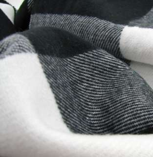 Mens Winter Black+Gray+White Checks Long Scarf