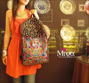 BOHO Bohemian Handmade Ethnic Canvas with Embroidery Backpack Travel