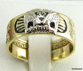 Rite Masonic Symbol Band   10k Gold Masons Ring Shriners 32nd Degree